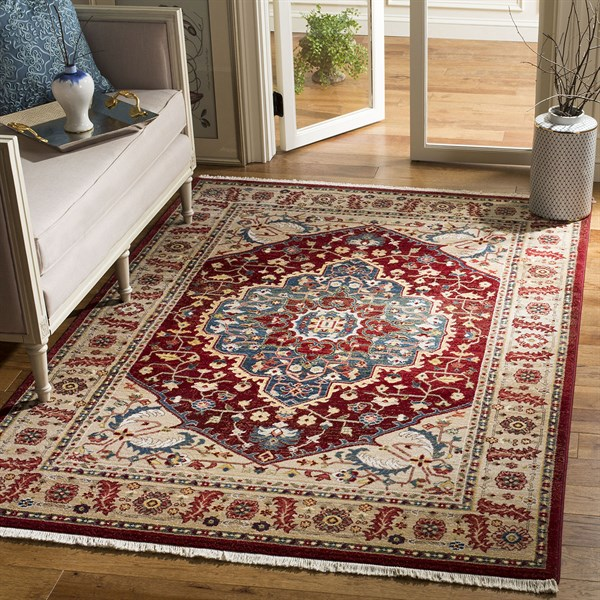 Beige, Red, Blue (1221B) Traditional / Oriental Area Rug