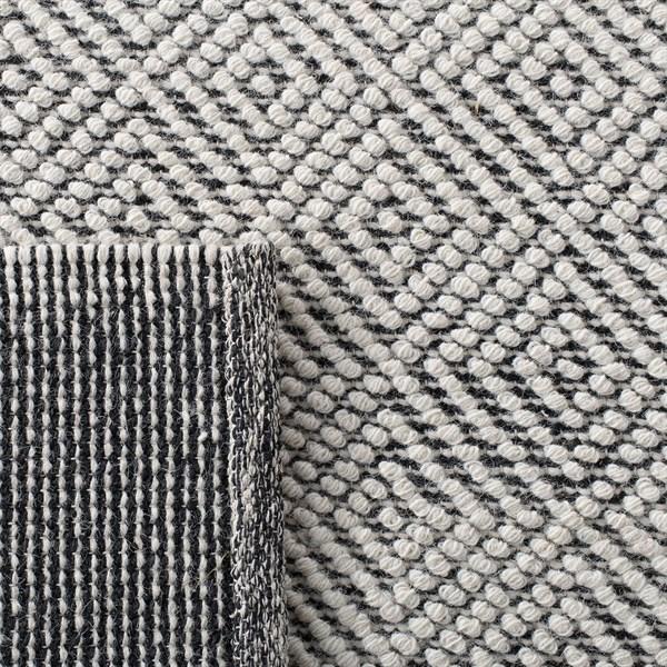 Black, Cream Natural Fiber Area Rug