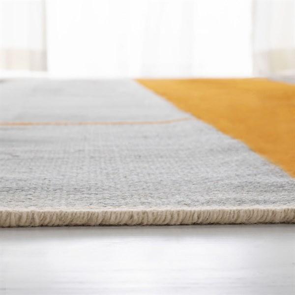 Orange, Black, Light Grey (A) Contemporary / Modern Area Rug