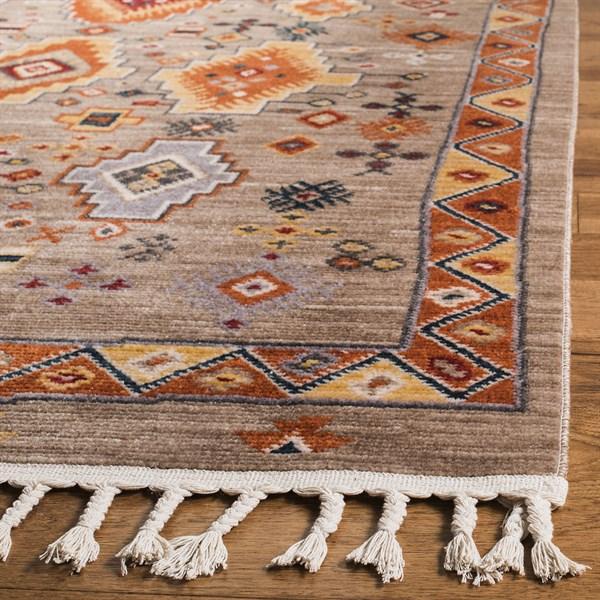Taupe, Orange (E) Boho Chic Area Rug
