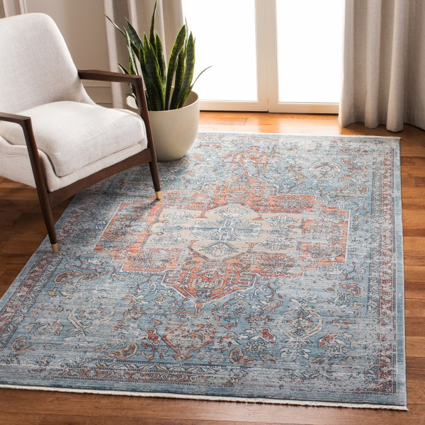 Blue, Red (N) Vintage / Overdyed Area Rug
