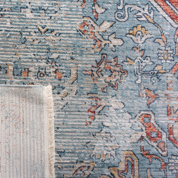 Blue, Red (N) Vintage / Overdyed Area Rug