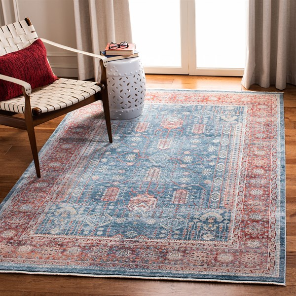 Blue, Red (M) Vintage / Overdyed Area Rug