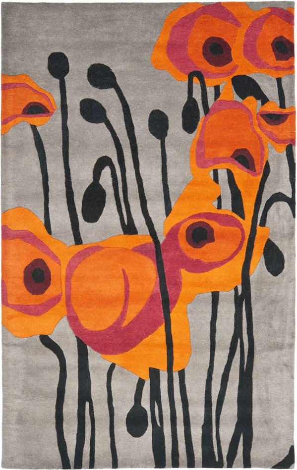 Grey, Orange (B) Floral / Botanical Area Rug
