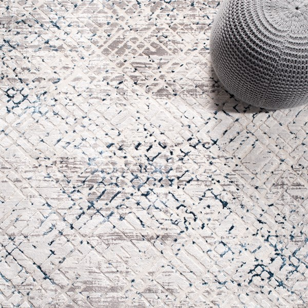 Cream, Navy (B) Contemporary / Modern Area Rug