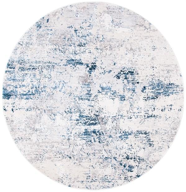 Cream, Navy (C) Contemporary / Modern Area Rug