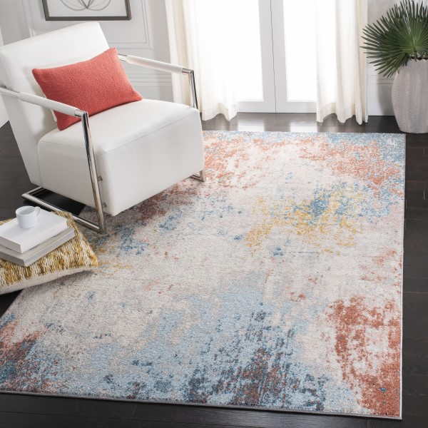 Ivory, Pink (A) Contemporary / Modern Area Rug
