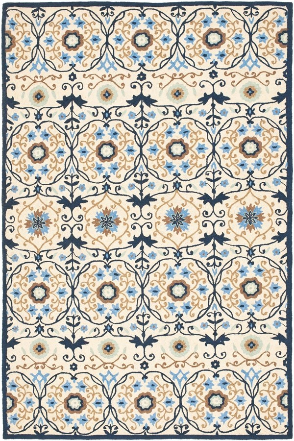 Ivory, Navy (A) Moroccan Area Rug