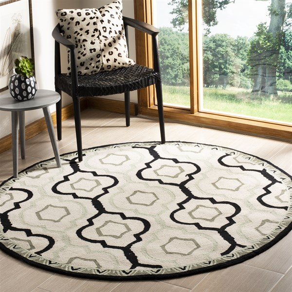 Ivory, Black (A) Transitional Area Rug