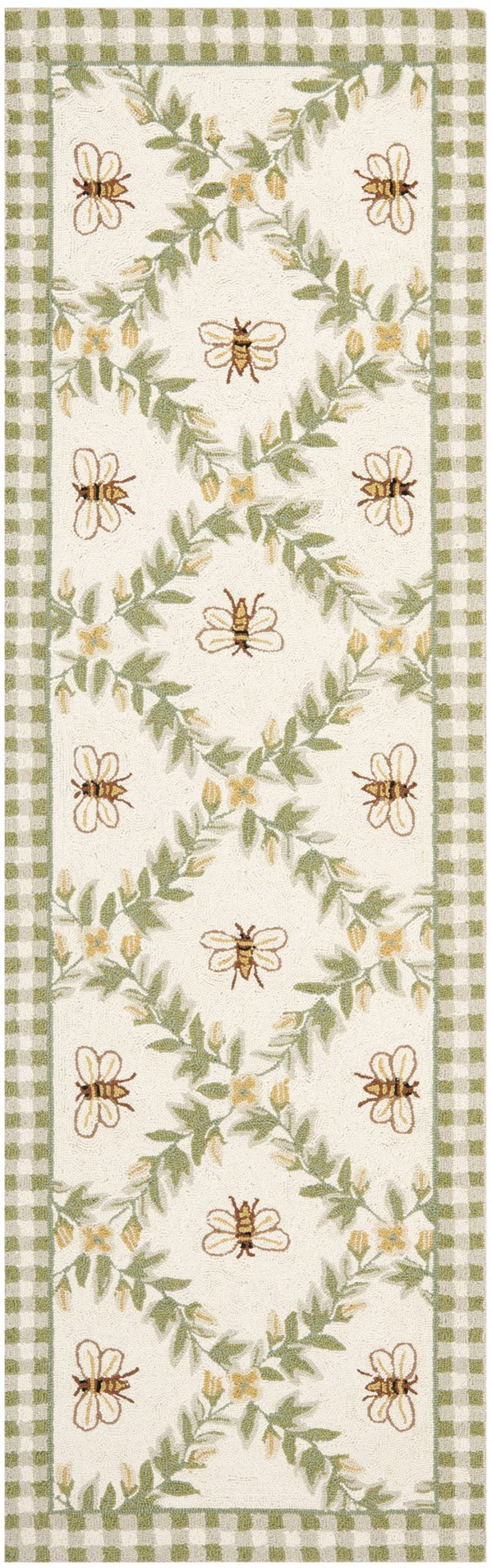 Ivory, Green (A) Floral / Botanical Area Rug