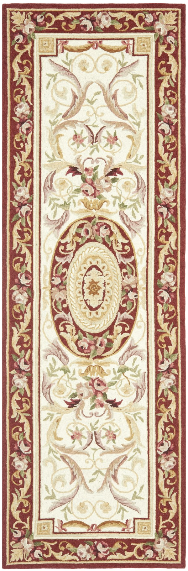 Ivory, Burgundy (A) Traditional / Oriental Area Rug