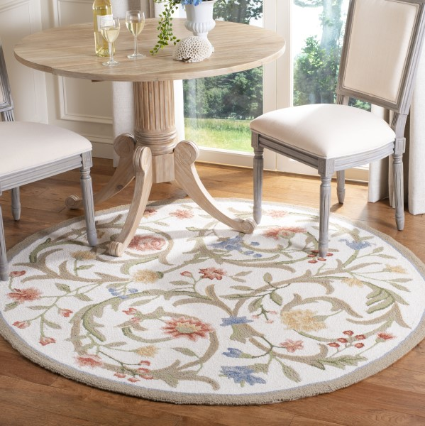 Ivory, Rust (A) Floral / Botanical Area Rug