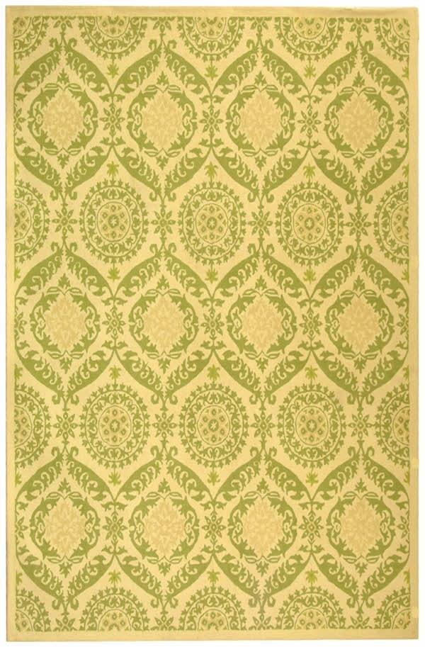 Beige, Green (C) Traditional / Oriental Area Rug