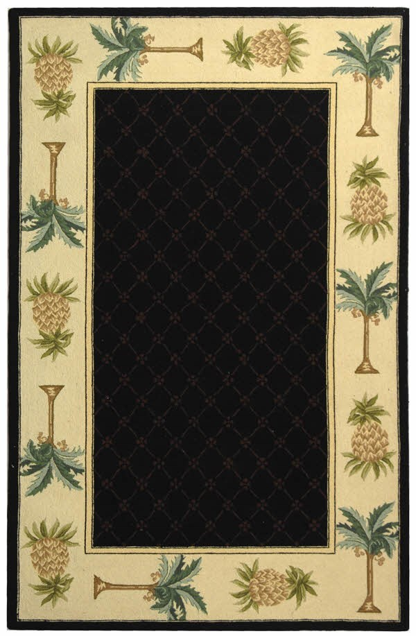 Black, Ivory (C) Bordered Area Rug