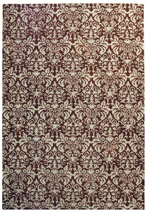 Brown, Grey (B) Damask Area Rug