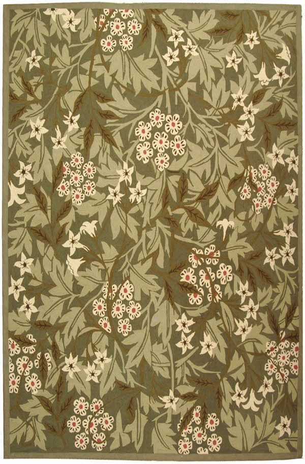 Green, Ivory (A) Floral / Botanical Area Rug