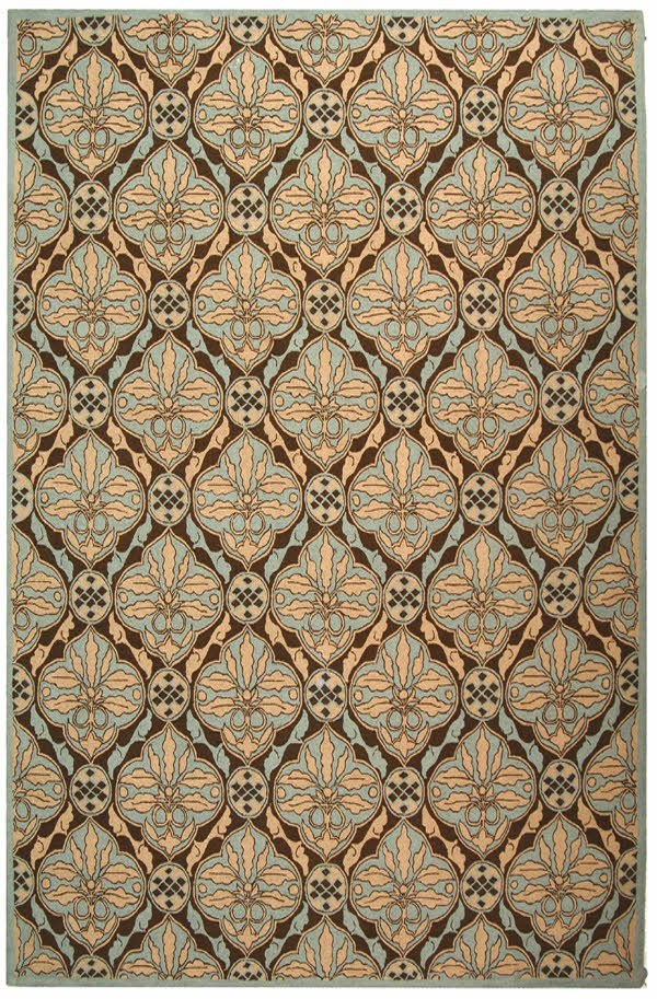 Brown, Blue (A) Moroccan Area Rug