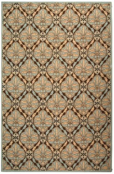 Brown, Blue (A) Contemporary / Modern Area Rug