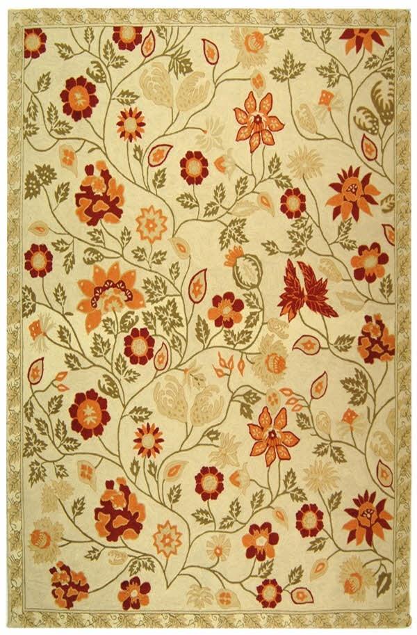 Ivory, Green (A) Floral / Botanical Area Rug