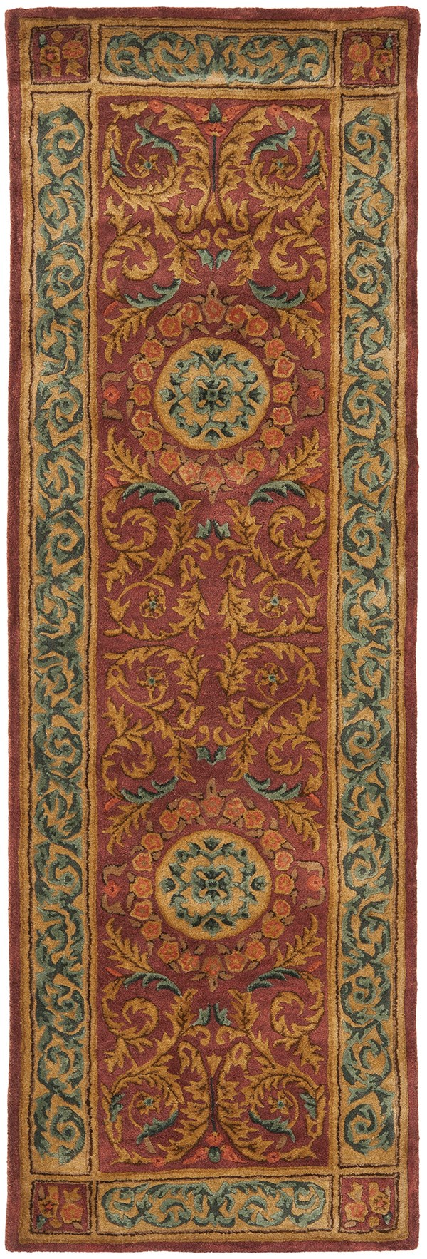 Burgundy, Gold (A) Traditional / Oriental Area Rug