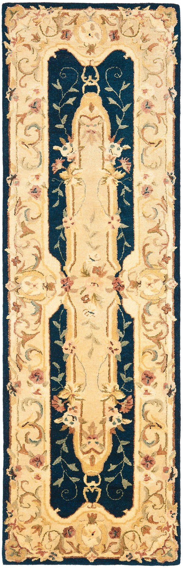 Navy, Beige (B) Traditional / Oriental Area Rug