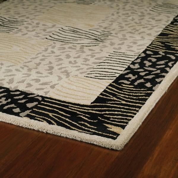 Linen, Black, Grey (4042) Contemporary / Modern Area Rug