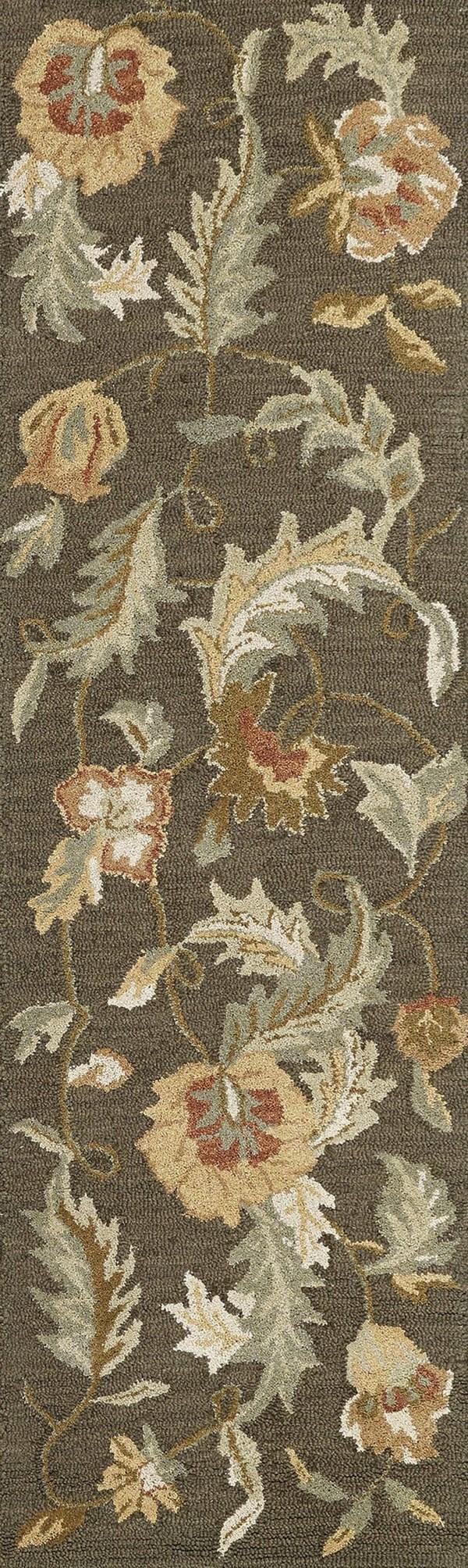 Charcoal, Mocha Brown, Mint Green (3338) Floral / Botanical Area Rug
