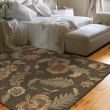 Product Image of Charcoal, Mocha Brown, Mint Green (3338) Floral / Botanical Area Rug