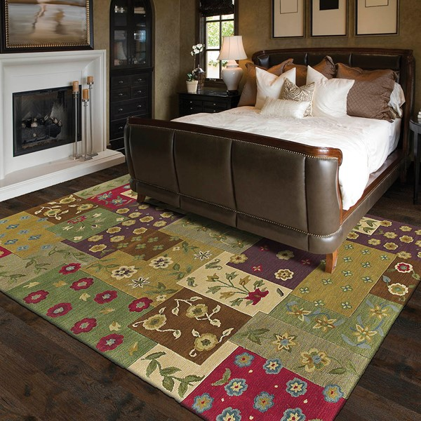 Ivory, Sage Green, Lilac (1001) Transitional Area Rug