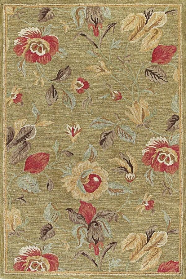 Olive, Terracotta, Brown (1223) Floral / Botanical Area Rug