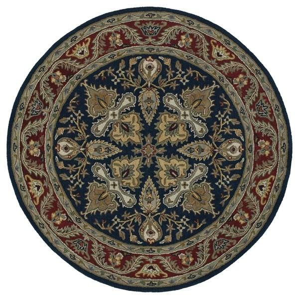 Navy, Burgundy, Brown (22) Traditional / Oriental Area Rug