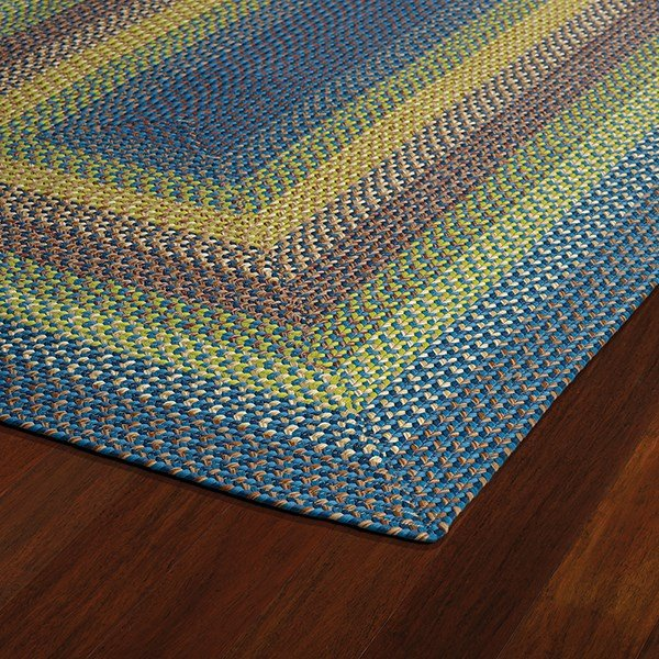 Green, Light Blue, Chocolate (86) Outdoor / Indoor Area Rug