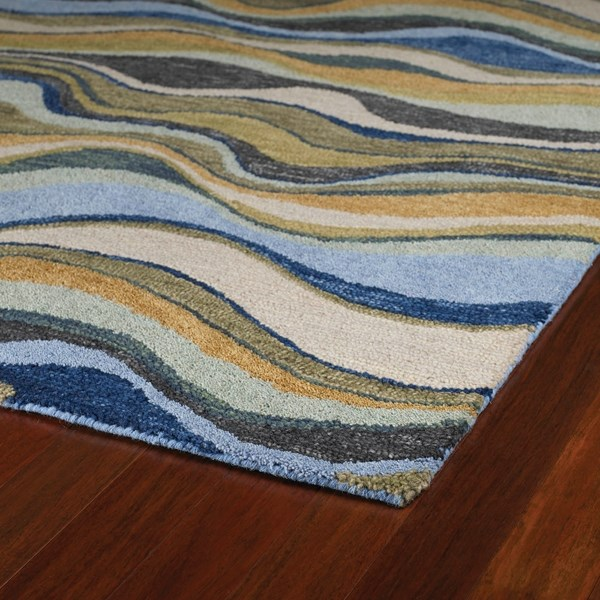 Blue, Brownish Gold, Oatmeal (17) Contemporary / Modern Area Rug