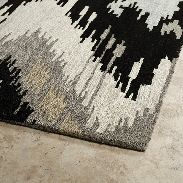 Black, Grey, Beige (02) Ikat Area Rug