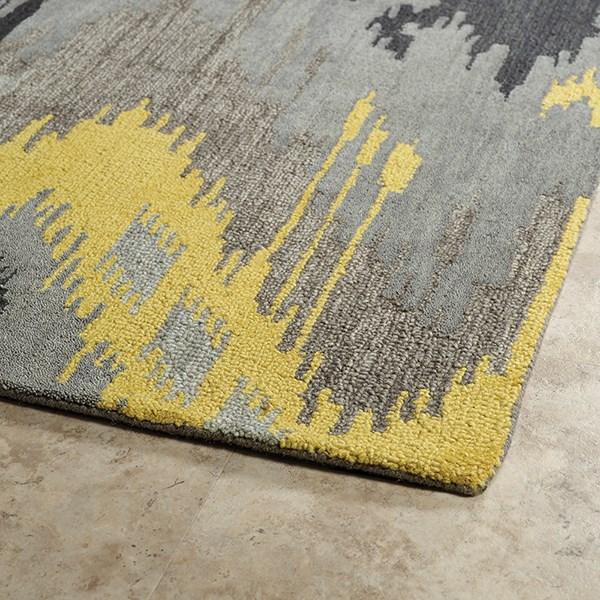 Grey, Yellow, Steel Grey (75) Ikat Area Rug