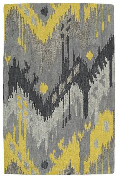 Grey, Yellow, Steel Grey (75) Bohemian Area Rug