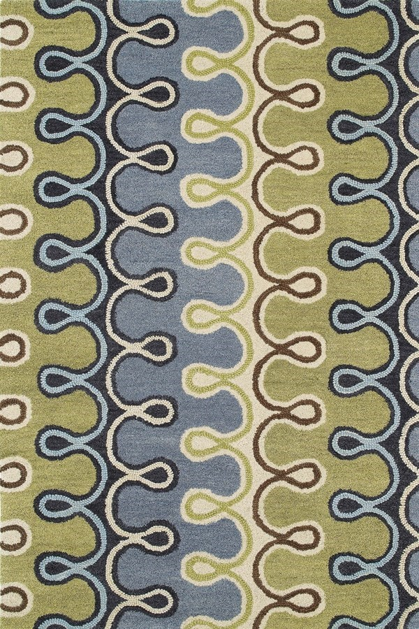 Blue, Wasabi Green, Sand (17) Contemporary / Modern Area Rug