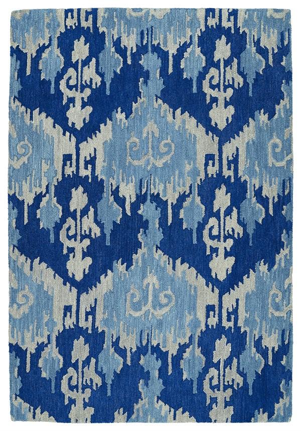 Denim Blue, Light Grey, Light Blue (10) Ikat Area Rug
