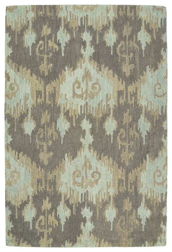 Taupe, Mint, Light Brown (88) Ikat Area Rug