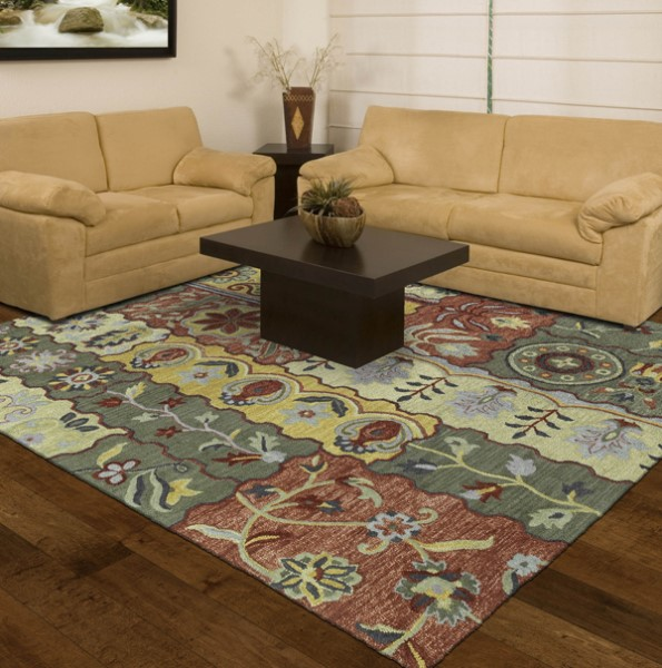 Gold, Olive, Brick Red (05) Contemporary / Modern Area Rug
