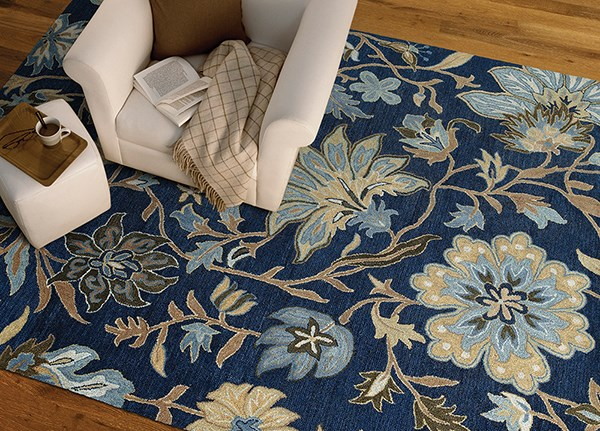 Blue, Sage Green, Chocolate (17) Floral / Botanical Area Rug