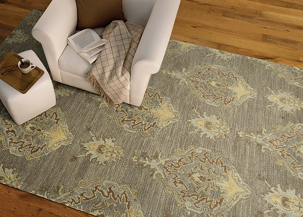 Taupe, Silver, Camel, Spa, Spring Green (27) Traditional / Oriental Area Rug