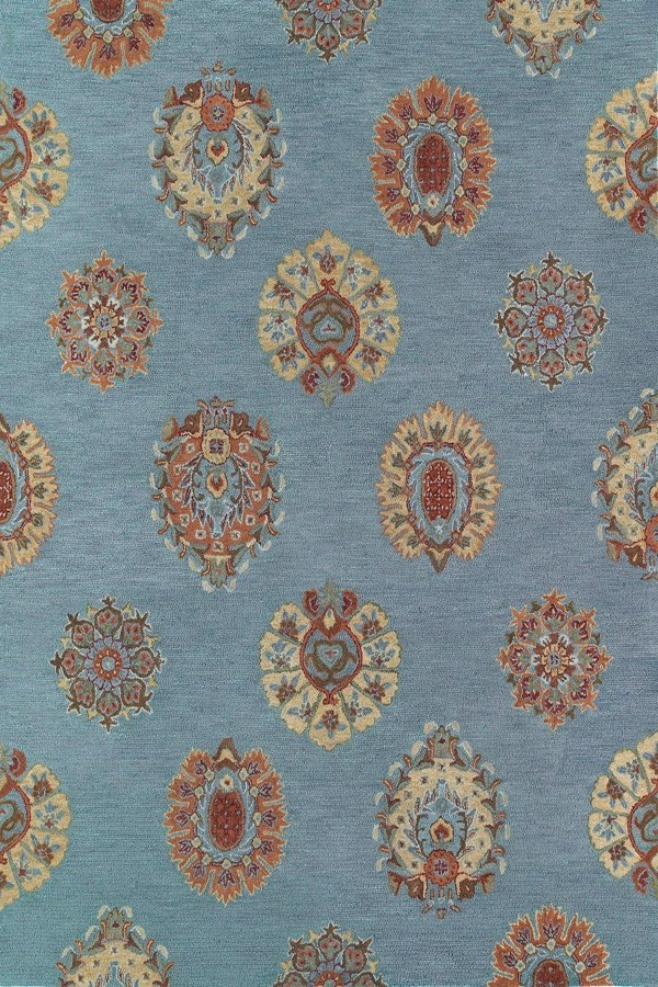 Spa Blue, Rust, Gold (56) Transitional Area Rug