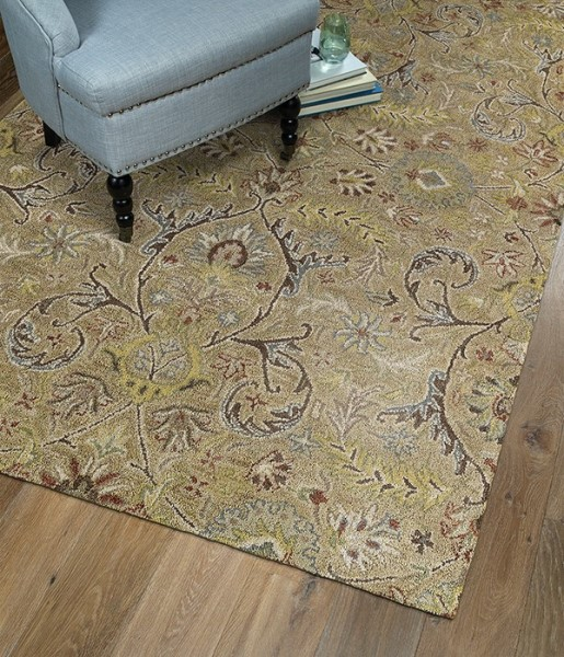 Gold, Chocolate, Light Taupe (05) Traditional / Oriental Area Rug