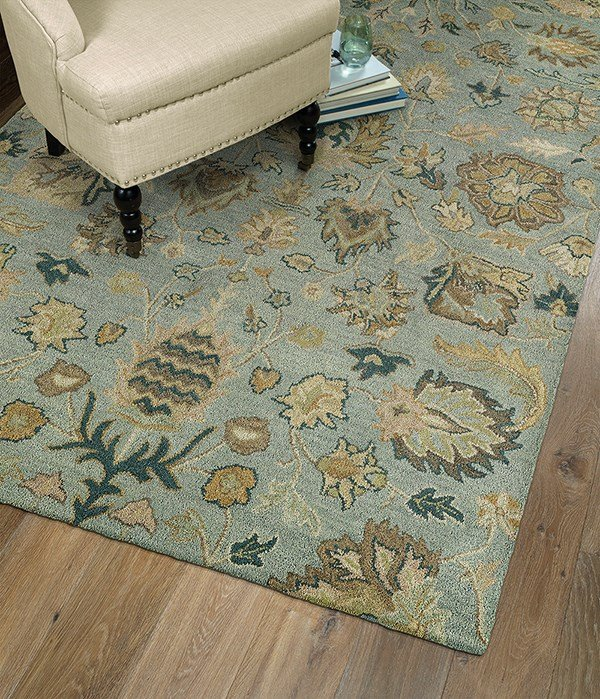 Spa Blue, Light Brown, Gold (56) Traditional / Oriental Area Rug