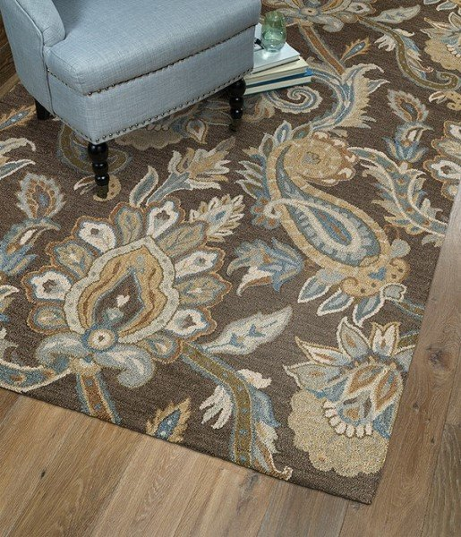 Brown, Light Blue, Beige (49) Traditional / Oriental Area Rug