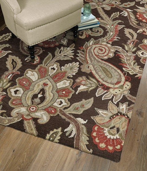 Chocolate, Sage, Red (40) Traditional / Oriental Area Rug