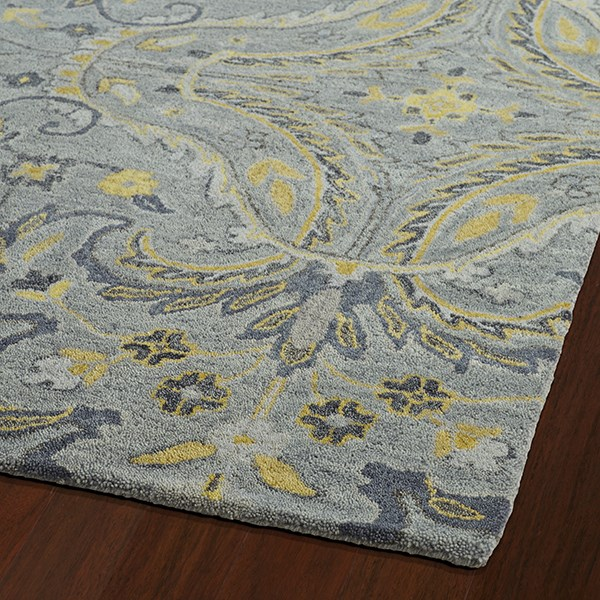 Grey, Yellow, Charcoal (75) Transitional Area Rug