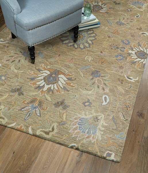 Light Brown, Light Gold, Slate Blue (82) Traditional / Oriental Area Rug