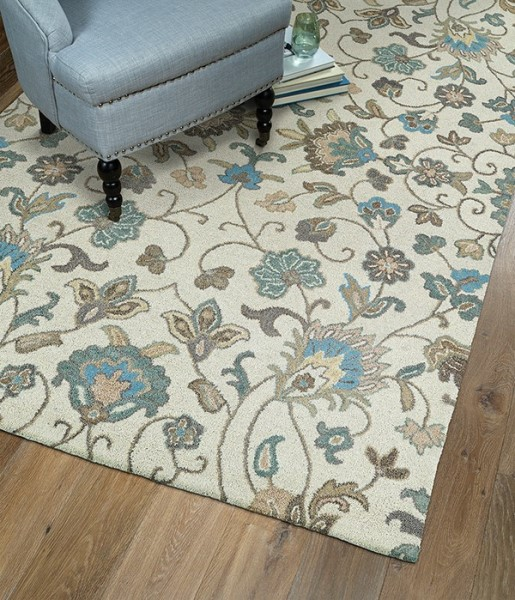Beige, Light Blue, Light Brown (03) Traditional / Oriental Area Rug